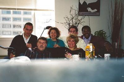 Luc Berthol, Uncie - Bob Skinner, Lorraine Sanchez-Barnard, me, Didier Blanchard at my apartment at St. Francis Place Apartments #5108