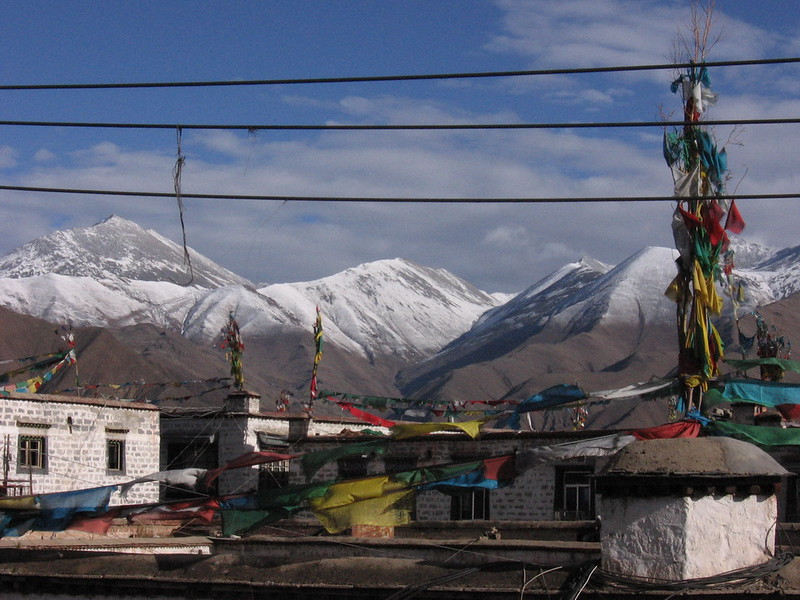 Lhasa's surrounding mountains after a dusting of snow