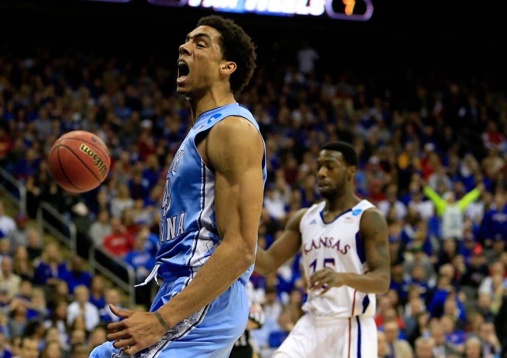 . James Michael McAdoo #43 of the North Carolina Tar Heels reacts in the first half against the Kansas Jayhawks during the third round of the 2013 NCAA Men\'s Basketball Tournament at Sprint Center on March 24, 2013 in Kansas City, Missouri.  (Photo by Jamie Squire/Getty Images)