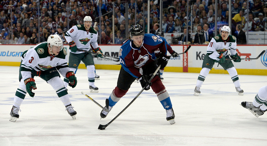 . Nathan MacKinnon (29) of the Colorado Avalanche fires in the first Avalanche goal of the game during the first period of action.  (Photo by John Leyba/The Denver Post)