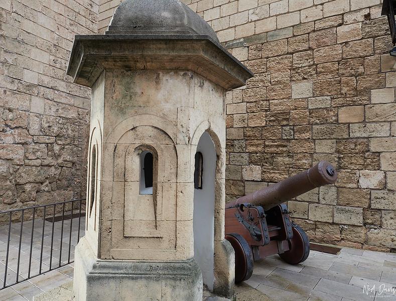 Old cannon by cathedral La Seu in Palma de Mallorca