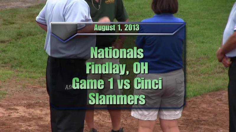 Findlay Nationals Aug 1, 2013.  Game 1 vs Cinci Slammers