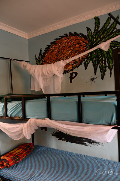 Each bed may have two kids in it, and each has a mosquito net.