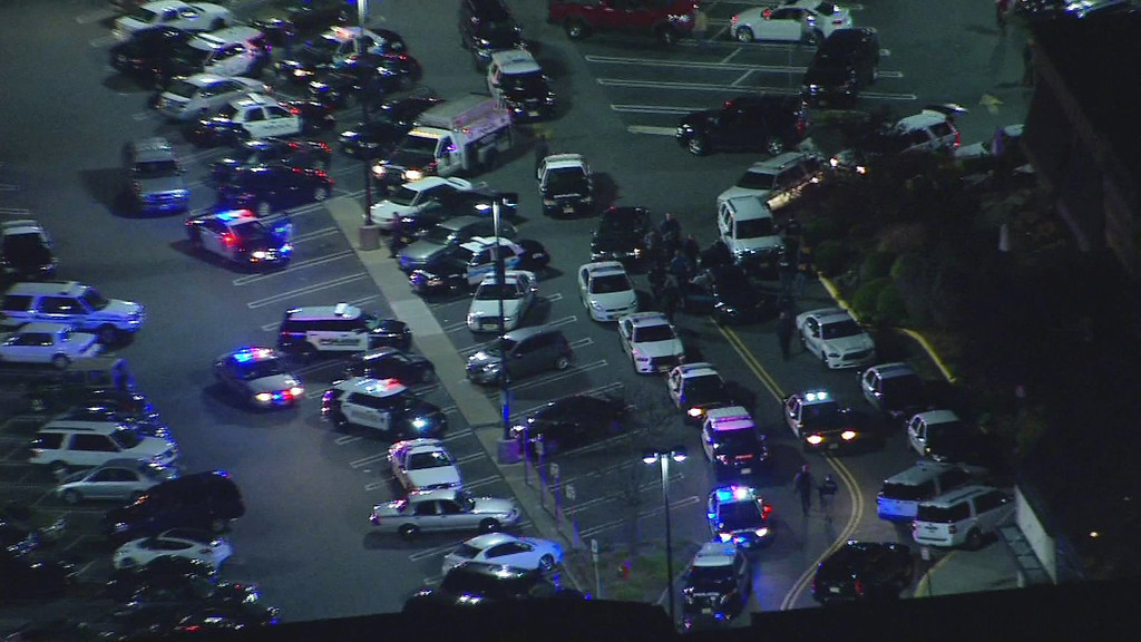 . In this image provided by News 12 New Jersey, authorities converge on Garden State Plaza Mall, late Monday, Nov. 4, 2013, in Paramus, N.J., after there were reports of multiple shots being fired inside the mall. (AP Photo/News 12 New Jersey)