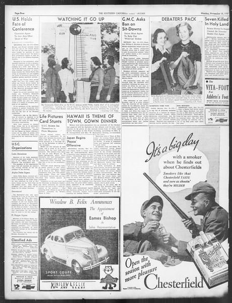 Daily Trojan, Vol. 29, No. 40, November 15, 1937