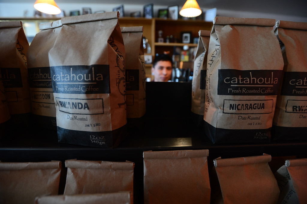 . Freshly roasted coffee is ready for sale at the Catahoula Coffee Company in Richmond, Calif. on Thursday, Jan. 17, 2013. (Kristopher Skinner/Staff)