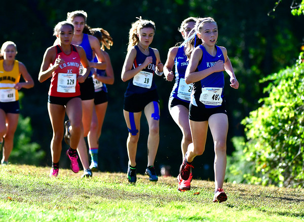 10/16/2018 Mike Orazzi | Staff Southington High School's Jackie Izzo during the CCC Conference Cross Country Championships in Manchester's Wickham Park Tuesday.