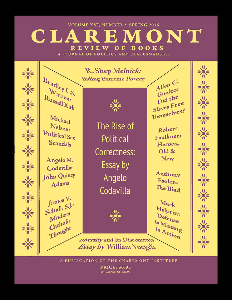 Alternate cover design for the Claremont Review of Books; Feb. 2018
