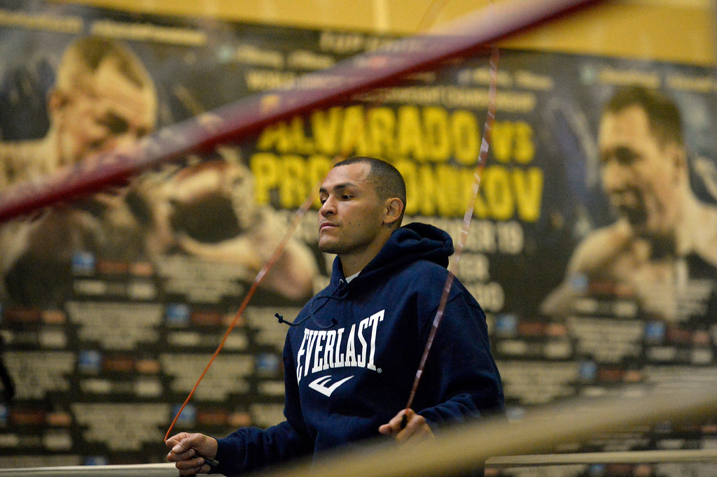 ". DENVER, CO - OCTOBER 15: Colorado\'s only reigning Champion ""Mile High\"" Mike Alvarado skips rope during a media workout day at Delgado\'s Gym October 15, 2013 as he gets ready for his fight with the Ruslan Provodnikov at 1st Bank Center. (Photo by John Leyba/The Denver Post)"