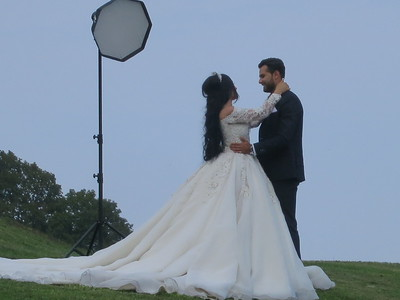 Wedding shoot at water plant