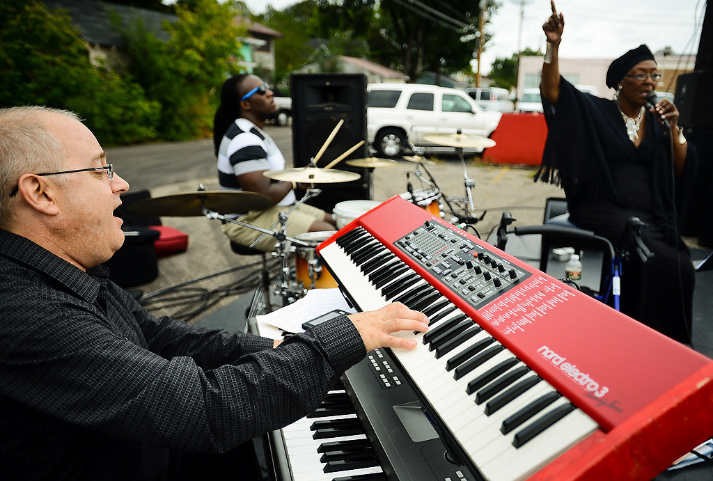 . The Barbara LeShoure trio performs at St. Paul\'s Open Streets fest. From left is Brian Nielson on keyboard, Robert LeShoure on drums and Barbara LeShoure. (Pioneer Press: Ben Garvin)
