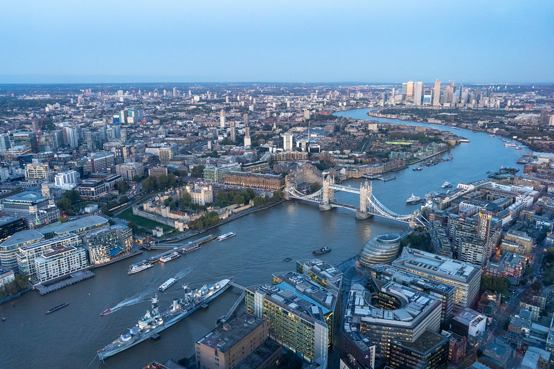 View of the Thames from The Shard at dusk