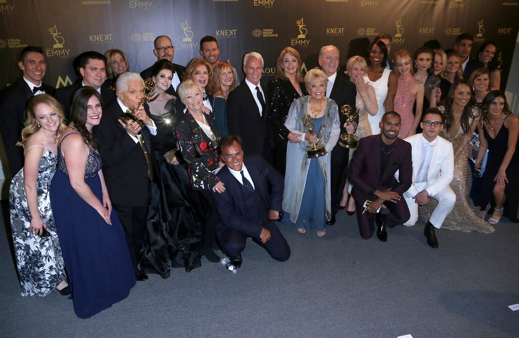 ". The cast and crew of ""Days of Our Lives\"" pose in the press room with the award for outstanding drama series at the 45th annual Daytime Emmy Awards at the Pasadena Civic Center on Sunday, April 29, 2018, in Pasadena, Calif. (Photo by Willy Sanjuan/Invision/AP)"