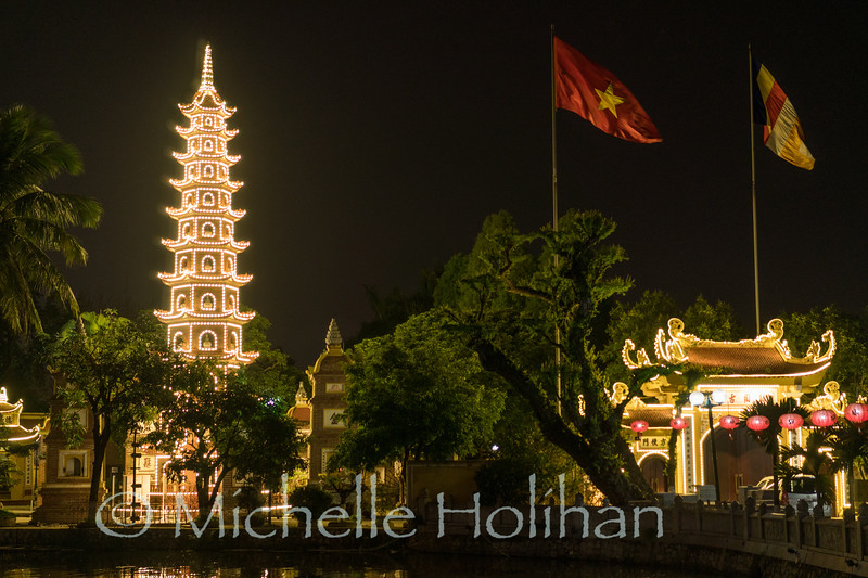 HANOI, VIETNAM - APRIL 7, 2019: Tran Quoc Pagoda lit up at night.
