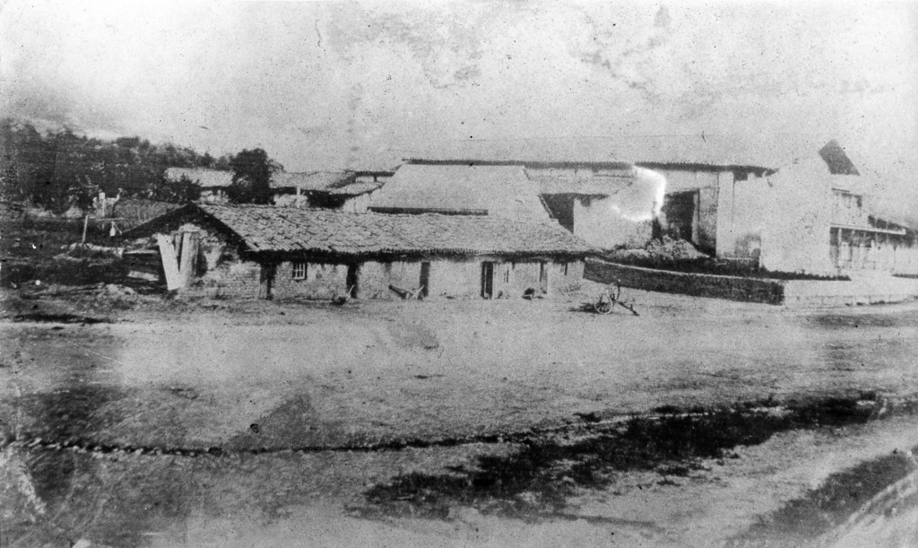 . Circa 1850s - Daguerreotype of the early mission showing the chapel when it was less than 60 years old. It was destoryed in a massive earthquake of 1868. (File Photo)