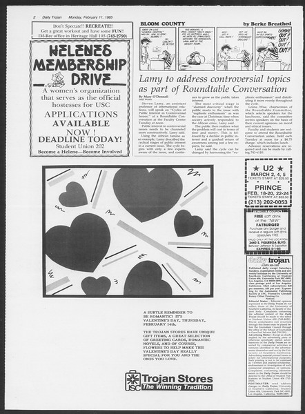 Daily Trojan, Vol. 98, No. 22, February 11, 1985