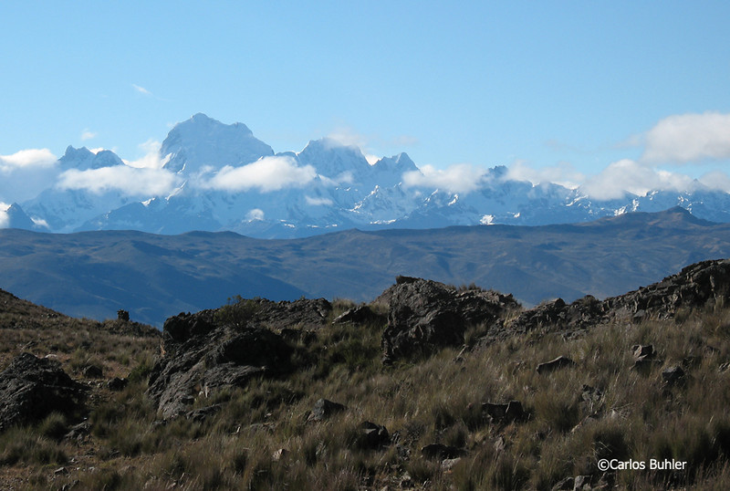 View of Yerupaja, Siula Grande, and the Cordillera Huayhuash from the Jatun Machay ruins.
