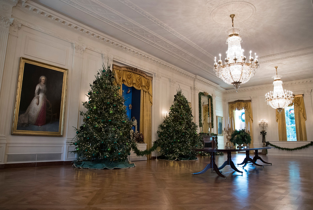 . The East Room is seen during a media preview of the 2017 holiday decorations at the White House in Washington, Monday, Nov. 27, 2017. (AP Photo/Carolyn Kaster)