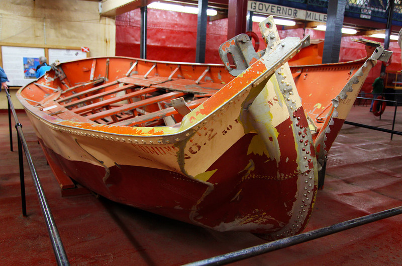 Lifeboat from the wreck of the famed Edmund Fitzgerald.  It turned up empty and badly damaged.