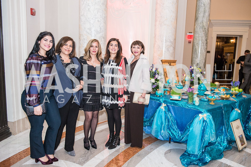 Donya Nasser, Roshan Alavi, Forough Parvizian Yazdani, Farrah Javid, Iranian-American Nowruz Reception, Washington, DC, Carnegie Institute of Science, March 15, 2018.  Photo by Ben Droz.