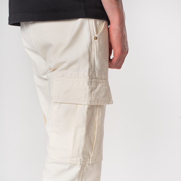 White 10.5oz Cotton Herringbone Cargo Pants--9.jpg