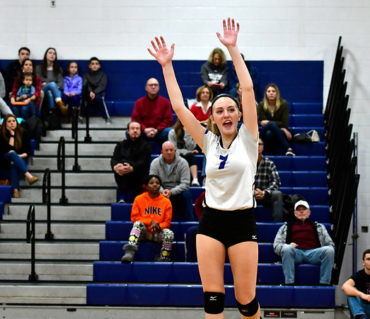 11/10/2018 Mike Orazzi   Staff Southington High School's Haley Larrabee (7) during the Class LL Quarterfinal Girls Volleyball Tournament in Southington Saturday.