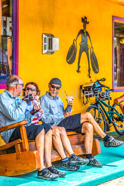 5-A)  Cyclists Interacting Near Local Establishments