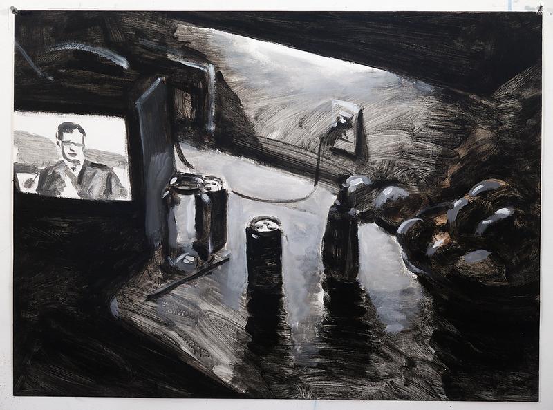 Night Kitchen II (b/w); acrylic on paper, 22 x 30 in, no date (circa 1991-94)