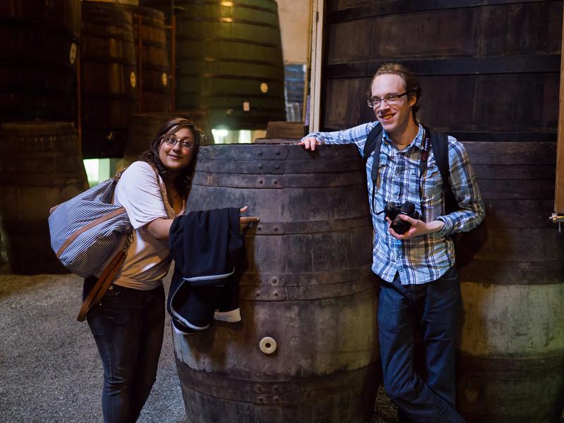 Dan and Becca with a port barrel