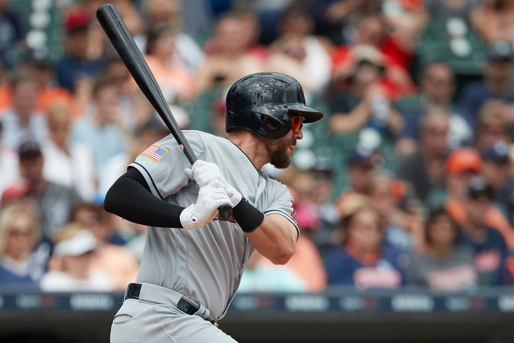 . Cleveland Indians Lonnie Chisenhall hits an RBI single against the Detroit Tigers during the seventh inning in the first baseball game of a doubleheader in Detroit, Saturday, July 1, 2017. (AP Photo/Rick Osentoski)
