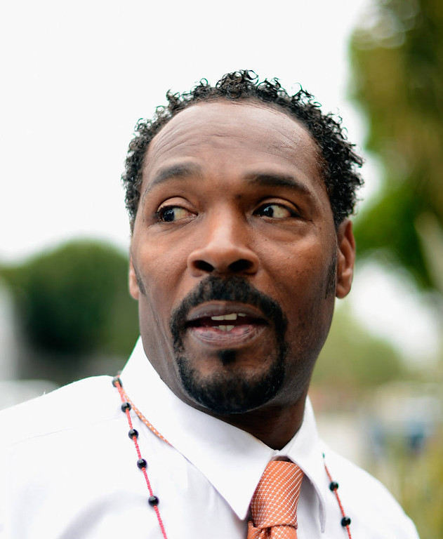 . Rodney King, best known as the victim of a brutal police beating that took place in Los Angeles that sparked infamous L.A. Riots.  (Photo by Kevork Djansezian/Getty Images)