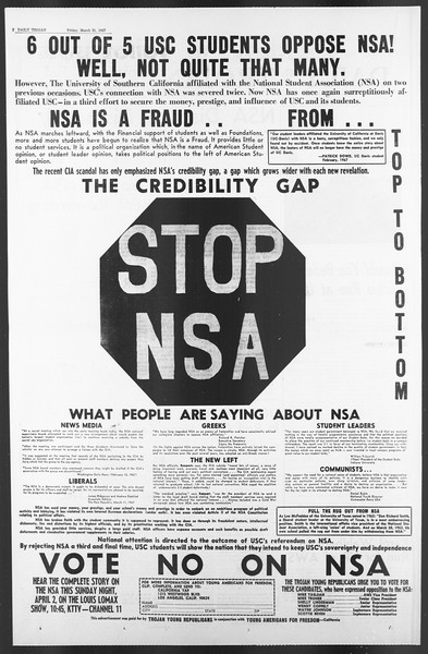 Daily Trojan, Vol. 58, No. 96, March 31, 1967