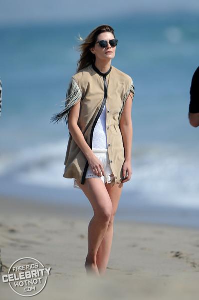 Mischa Barton Shows Off Beach Body In A White Bikini, CA