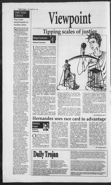 Daily Trojan, Vol. 132, No. 43, October 29, 1997