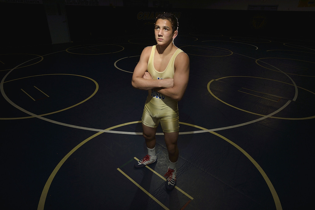 . BELLFLOWER, CALIF. USA --  Press-Telegram Dream Team Wrestler of the Year Aaron Pico, of St. John Bosco High, in Bellflower, Calif., on March 27, 2013 Photo by Jeff Gritchen / Los Angeles Newspaper Group