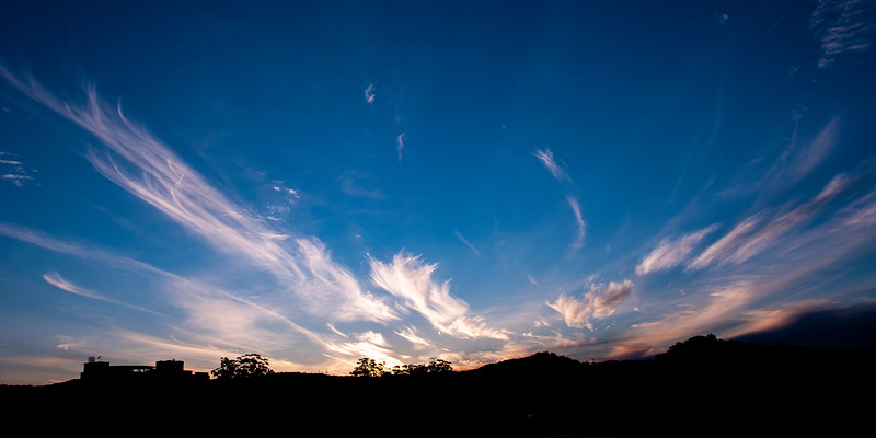 Magnificent white Cirrus cloudscape in blue sky. Australia.
