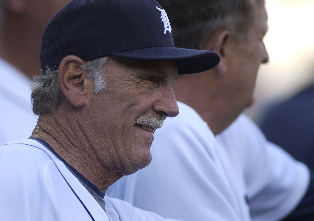 . Detroit Tigers Manager Jim Leyland shares a smile with his staff before the start of his team\'s again against the Kansas City Royals, Tuesday, July 7, 2009, at Comerica Park in Detroit, Mich.  The Tigers beat the Royals, 8-5.  (The Oakland Press/Jose Juarez)