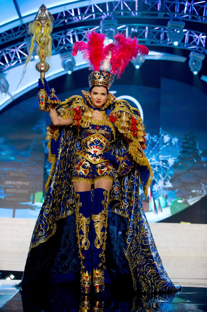 Description of . Miss Peru Nicole Faveron performs onstage at the 2012 Miss Universe National Costume Show at PH Live in Las Vegas, Nevada December 14, 2012. The 89 Miss Universe Contestants will compete for the Diamond Nexus Crown on December 19, 2012. REUTERS/Darren Decker/Miss Universe Organization/Handout