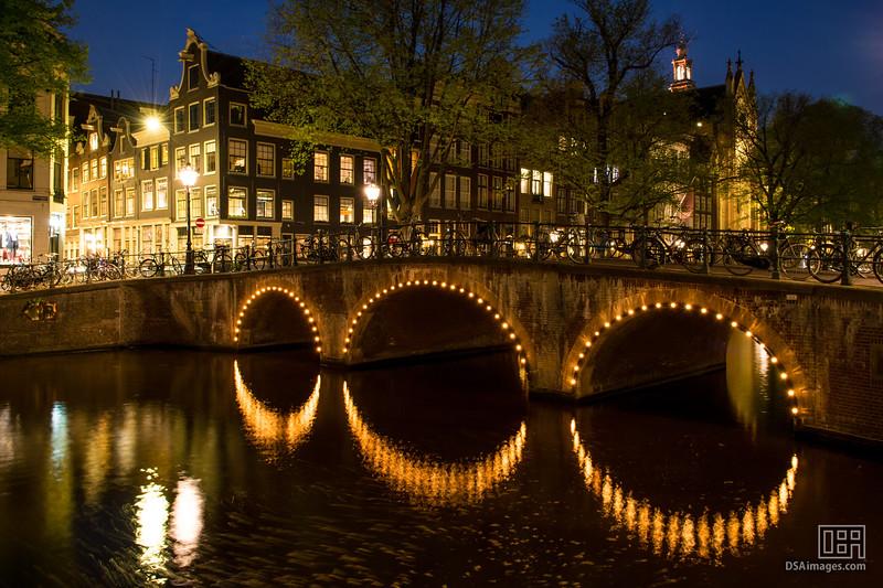 Canal bridge at night