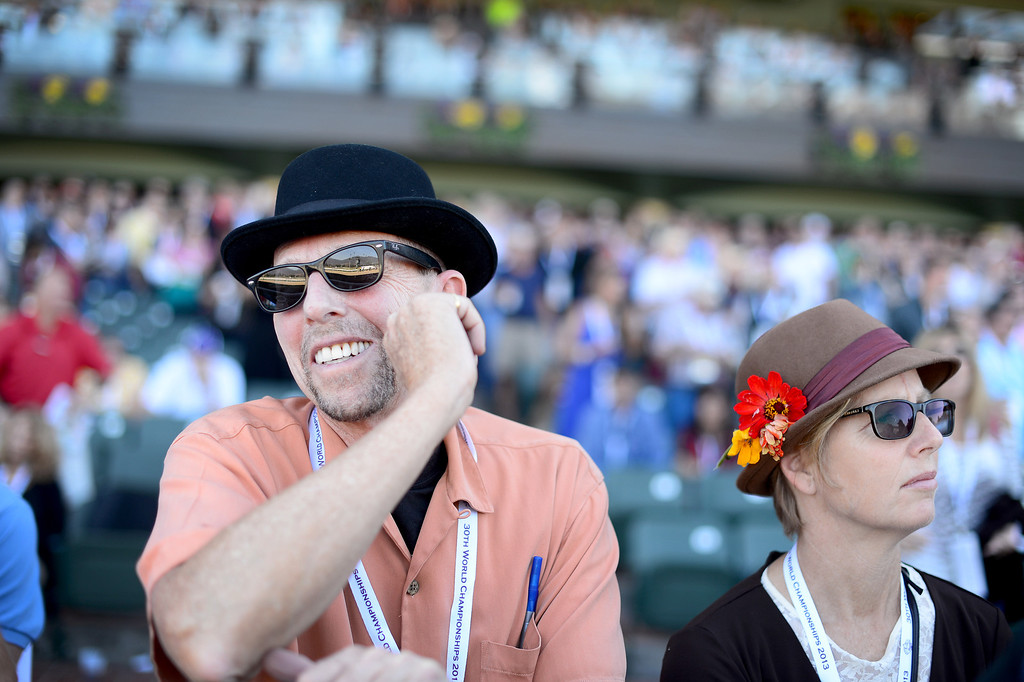 . Mark Winogrond an dLucy Dyke, of Venice, watch the 5th race during the Breeders\' Cup at Santa Anita Park in Arcadia Friday, November 1, 2013. (Photo by Sarah Reingewirtz/Pasadena Star-News)