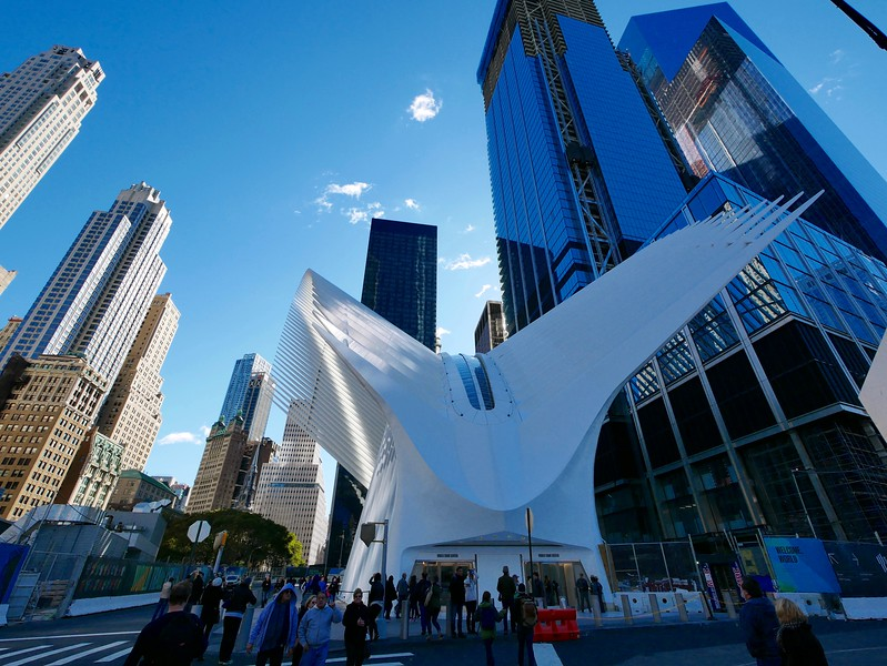 The Oculus - the architect said it was supposed to resemble a dove in flight, but I think it looks more like a bleached whale carcass
