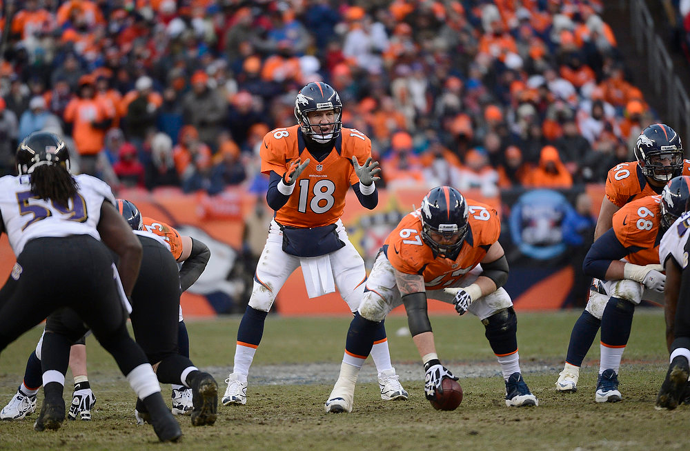 . Denver Broncos quarterback Peyton Manning (18) calls plays at the line in the second quarter. The Denver Broncos vs Baltimore Ravens AFC Divisional playoff game at Sports Authority Field Saturday January 12, 2013. (Photo by Joe Amon,/The Denver Post)