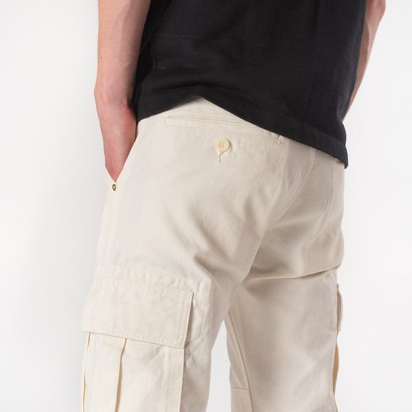 White 10.5oz Cotton Herringbone Cargo Pants--10.jpg