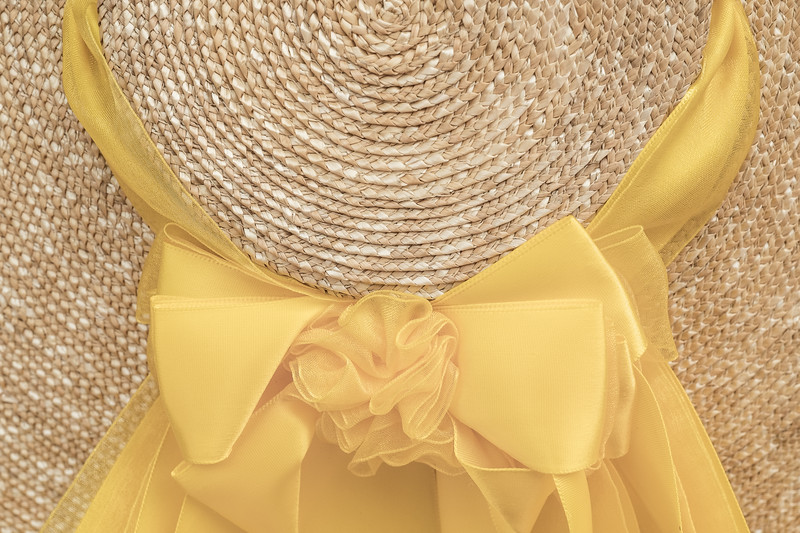 18th Century Style Colonial Hat and Ribbon detail in yellow