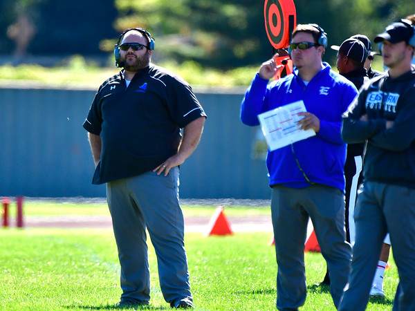 10/5/2019 Mike Orazzi | StaffrBristol Eastern Head Football Coach Anthony Julius during Saturday's football game with Hartford Public in Hartford.