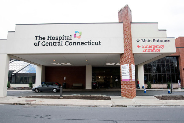 03/17/20 Wesley Bunnell | StaffrrThe Hospital of Central CT in New Britain on Tuesday March 17, 2020. Upon entering the hospitals main entrance people are immediately greeted by screeners who are checking for fever and asking questions about recent travels.