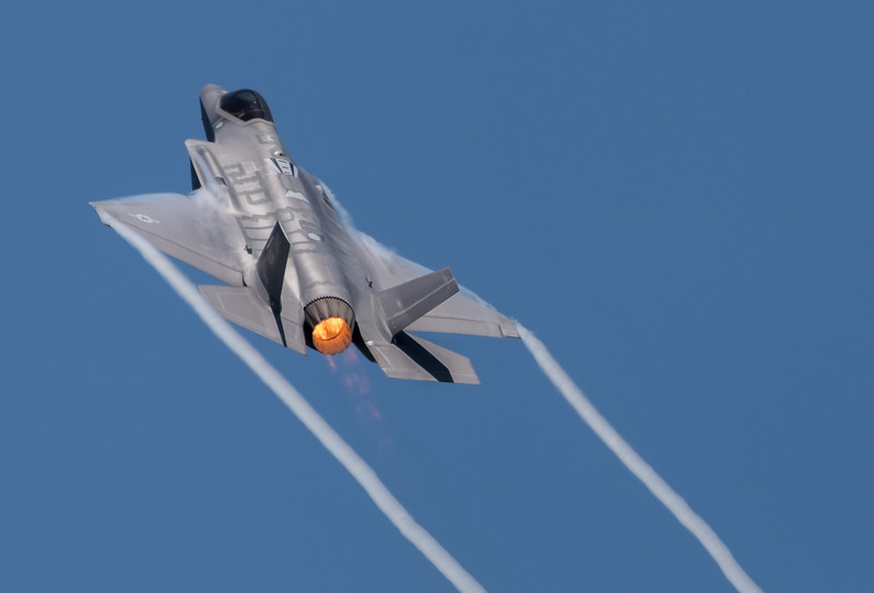 USAF F-35A Lightning in a high alpha maneuver