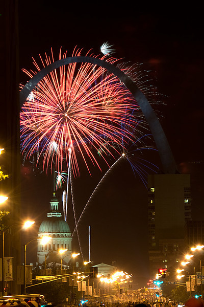 4th of July 2008 shot from the middle of the street in Downtown Saint Louis.