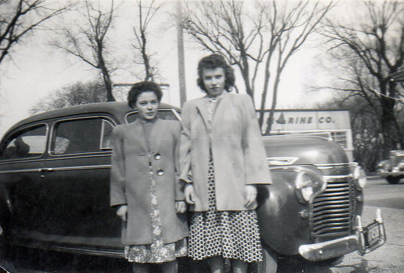 """Taken in first part of May or last of April. Myrtle Johnson, Frank and I went for a ride to Pewaukee Lake"""