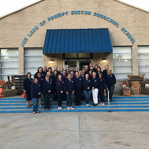 OLPS Faculty and Staff in Home and School sweatshirts